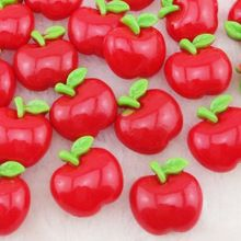 40pcs Resin Red Apple Flatback Button Craft Appliques For Christmas Eve(China (Mainland))