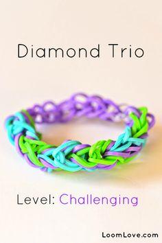 How-to: Make a Diamond Trio Rubber Band Bracelet #rainbow #loom