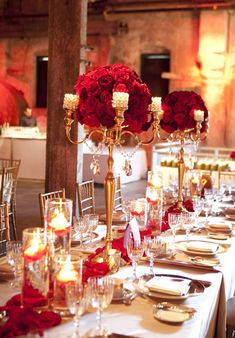 Stylish Red and Gold Wedding Reception Tablescapes Likes the candle holders says that it makes the table elegant. Wedding Themes, Wedding Colors, Wedding Photos, Wedding Designs, Wedding Ideas, Decor Wedding, Wedding Flowers, Red Wedding, Wedding Table