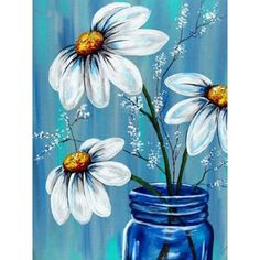 acrylic painting ideas for spring.acrylic painting ideas for children.acrylic painting ideas for bedroom.acrylic painting ideas for living room.acrylic painting ideas for fall. Daisy Painting, Easy Canvas Painting, Acrylic Painting For Beginners, Simple Acrylic Paintings, Acrylic Painting Techniques, Spring Painting, Beginner Painting, Diy Canvas, Canvas Art