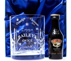 Engraved BAILEYS CHRISTMAS Design Crystal Glass + Miniature in Silk Gift Box