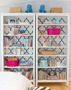 Bring #Quatrefoil into your #nursery or #playroom with an accented #bookcase!
