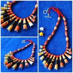 The Flow  Check out the long beaded necklace finished with wooden beads and toggle clasp. It has he 13 long paper beads and 12 along the string to give it a tribal look. convo on FB or email at tim@kagazmade.com for payment and free shipping details.