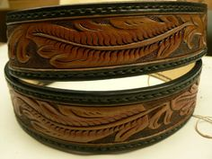 Tooled black and tan leather belt by AcrossLeather on Etsy, $180.00