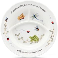 Adorned with a delightful garden motif, this adorable child's dish features dividers to keep foods sectioned into 3 separate spaces. The hand-decorated dish is also colorfully inscribed with a cheerful phrase. Crafted of Lenox fine porcelain.