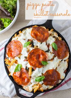 This Pizza Pasta Skillet Casserole combines two crowd-pleasing dishes into one satisfying dinner that will please kids and adults alike. #pizza #casserole