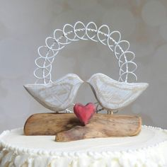 Love Bird Wedding Cake Topper Love Bird by WoodenHeartButtons