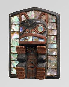 Headdress Frontlet, ca. 1885. Tlingit (United States, Alaska). Wood, paint, abalone shell.