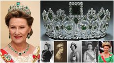 Joséphine of Leuchtenberg Emerald Parure Tiara. The set consist of: A tiara by the French jeweler Bapst, with geometric emeralds in a neoclassical diamond design, mounted on a frame of gold and silver, a necklace, a brooch and earrings. Originally own by Dss of Leuchtenberg who left it to her daughter, Amelié, Ess of Brazil. Amelié left it to her sister, Josefina, Q of Sweden. A swedish royal set of jewelry until Pss Märtha of Sweden, married C P Olav of Norway.