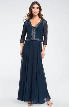 Nuevo Vestido con cuentas de gasa Vestido de J Kara con juego Chaqueta Azul Marino Talla 6