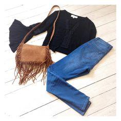 Joplin Tie Top, Olsen Tassel Bag, Faye Jeans. Shop @ Little-Lies.com