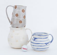 I think I could easily do the blue/white one with slip. Water pitcher is a good next project.