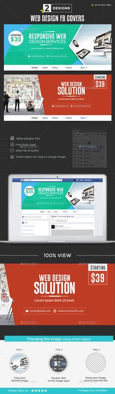 Web Design Facebook Covers - 2 Designs Template PSD