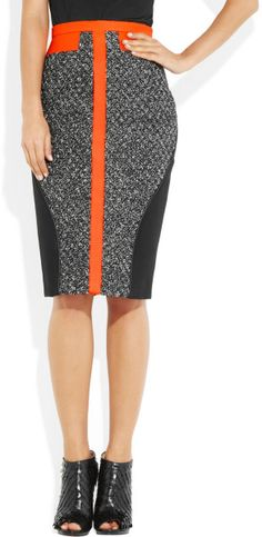 Antonio Berardi Leathertrimmed Bouclé and Crepe Skirt in Black | Lyst