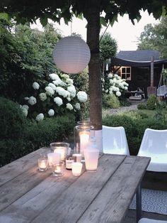 Jaren30tuinen.nl | Sfeervolle tuin passend bij een #jaren30 woning met hortensia's, blokhagen en grind