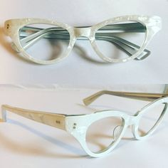 White Eyeglasses, Vintage Pearly White Cateye Glasses, New Old Stock Cat Eye Glasses, Womens Glasses Pearl White Frames, Deadstock - Products - Brillen Cool Glasses, Glasses Frames, Funky Glasses, Fashion Eye Glasses, Cat Eye Glasses, Cat Eye Frames, Womens Glasses, Vintage Rhinestone, Cat Eyes