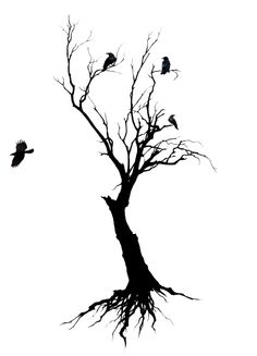 Black Crows Sit In Without Leaves Tree Tattoo Design