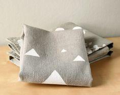 White Triangles on Grey linen dishcloth - Triangles tea towel - Gray and White towel. €19.00, via Etsy.