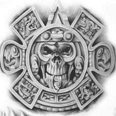 Mayan Tattoos, Mexican Art Tattoos, Aztec Tattoo Designs, Skull Tattoo Design, Aztec Designs, Cholo Art, Chicano Art, Tatto Maya, Aztec Warrior Tattoo