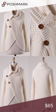 HARLOWE cowl neck sweater top - CREAM Uber soft & just plain gorgeous! Overlap style knit sweater tunic with button detail. NO TRADE, PRICE FIRM Bellanblue Sweaters Cowl & Turtlenecks