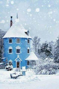 Blue silo house
