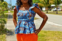 Ankara wax Print Orange and Blue Skirt Suit, African Print Dress, African Print Orange and Blue Two Piece Suit