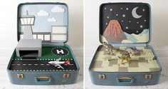 Vintage Suitcase Play - A traveling suitcase full of imagination is just what you need for the kids to enjoy on family trips! #DIY #repurpose #recycle