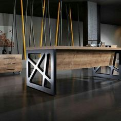 Spectacular Office Table Design That Trending In 2019 : – Any office has to look good for both the impression purposes and the general outlook of the entire office space. The signature look of the office aris… Steel Furniture, Diy Furniture, Modern Furniture, Furniture Design, Office Furniture, Classic Furniture, White Furniture, Repurposed Furniture, Furniture Plans