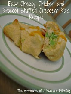 Easy Cheesy Chicken and Broccoli Stuffed Crescent Rolls Recipe - was yummy!  Great way to get kids to eat some veggies too!  Want to try with cheesesteak filling for Pats games!