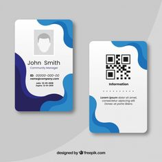 Id card template Free Vector Identity Card Design, Id Card Design, Label Design, Business Card Design, Creative Cv Template, Office Templates, Logo Templates, Templates Free, Employee Id Card