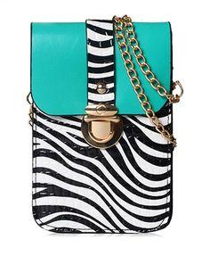 Zebra Stripe Patent Leather Shoulder Bag - Bags - Accessories