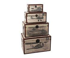 Set de 4 baúles de madera DM y lino Aviones