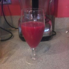 Pomegranate grape lemon juice for my morning drink. Here's the recipe: seeds from 2 organic pomegranates 2 handfuls of organic red grapes 1/4 organic lemon with rind Put ingredients into the juicer Drink!