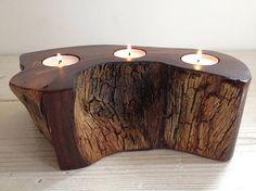 Tealight holder, candle holder, Scottish elm wood, burr elm, wooden, handmade, unique, natural, tealight, interesting (item 129) three, 3