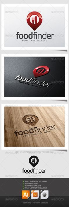 Food Finder Logo  #GraphicRiver         Logo of a pointer (pin) with fork and knife in the middle. Can be used for many kind of project. Full vectors, this logo can be easily resize and colors can be changed to fit your colors project. Flat version for print also included. The font used is in a download file in the package.  	 Font :  .fontsquirrel /fonts/maven-pro  	 Files provided : .ai (CS6 and CS), .eps, .jpg, .png (transparent)     Created: 14June13 GraphicsFilesIncluded…