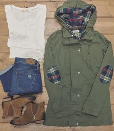 A D O R A B L E {new arrivals} you'll want to see under the Christmas Tree  Plaid Detail Olive Cargo Jacket $48 | Lace Cuff Henley $50 | Big Star Distressed Skinny $128 | Naughty Monkey Bootie $69.99  Shop in stores or CALL to order --> 360.716.2982 #shophoitytoity #htholiday
