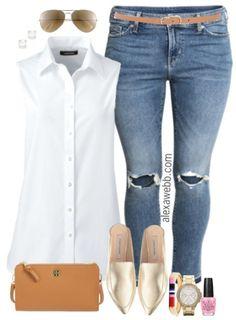 Plus Size Summer Basics Outfit - Plus Size Fashion for Women - alexawebb.com #alexawebb