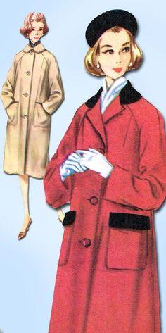 1960s Vintage McCalls Sewing Pattern 5612 Uncut Misses Raglan Coat Size 16 36B