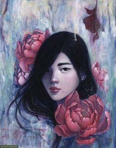 Портреты девушек, окруженных цветами