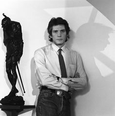 Robert Mapplethorpe (November 4, 1946 – March 9, 1989) known for his large-scale, highly stylized black and white portraits, photos of flowers and nude men. The frank homoeroticism of some of the work of his middle period triggered a more general controversy about the public funding of artworks.