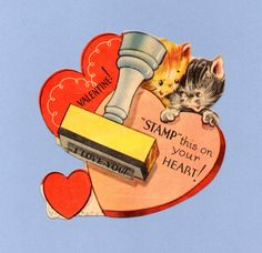 Vintage Valentine Museum: You're PURR-fect for Me! My Funny Valentine, Vintage Valentine Cards, Cat Valentine, Vintage Greeting Cards, Vintage Holiday, Valentine Day Cards, Happy Valentines Day, Valentine Stuff, Valentines Illustration