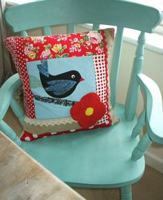 OOAK patchwork cushion / pillow cover with by PoppyRoseVintage, $28.99