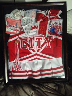 Old Cheer Uniform Shadow Box Inspiration #CCSF #College #Cheer