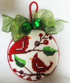 Tweet! Ornament; Stitched by Carol K., cardinals needlepoint ornament