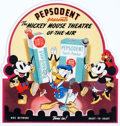 Mickey Mouse Theater of the Air Pepsodent Store Display (Disney, 1938) #VintageAdvertising #Disney
