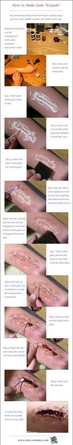 How to make fake wounds for cosplay scars and scratches - HaLLOwEeN - [post_tags Cosplay Tutorial, Cosplay Diy, Cosplay Makeup, Costume Makeup, Halloween Costumes For Teens, Halloween Cosplay, Halloween Diy, Diy Halloween Wounds, Group Halloween