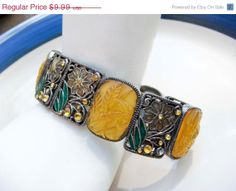 ON SALE Vintage Faux Yellow Amber Stretch by PaganCellarJewelry, $7.99