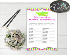 Baby Shower Jungle Crocs Baby Shower Calf Kitten NAME THE BABY Animals, Party Décor, Paper Supplies, Printable Files - ap001 #babyshowergames #babyshower