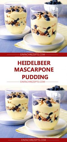 Ingredients for the recipe Blueberry Mascarpone Pudding Ingredients … - All Recipes Desserts Potluck, Pudding Desserts, Fancy Desserts, No Bake Desserts, Pudding Cupcakes, Smoothie Recipes, Snack Recipes, Dessert Recipes, Snacks