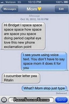 Parent/child texts.  I laughed so hard reading these!  There are a few off-color (the nature of autocorrect-gone-bad), but wow, are there some funny ones.  Good read when you need a laugh for stress relief!